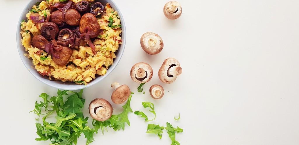 Rucola aardappelpuree met balsamico champignons