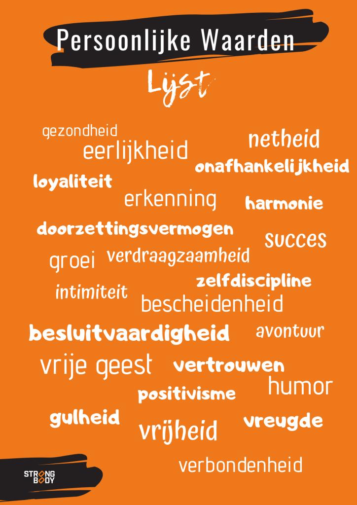 persoonlijke kernwaarden lijst | strongbody.nl