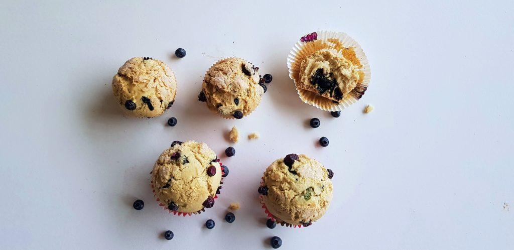 Vegan blauwe bessen muffin